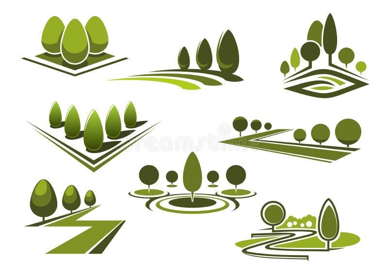 Los parques y gaden iconos con los árboles verdes stock de ilustración