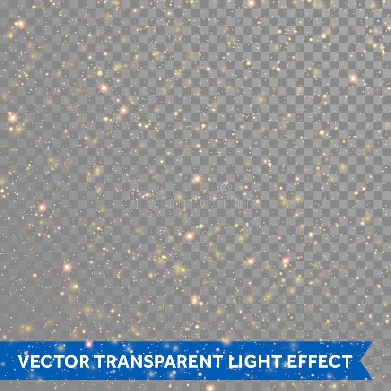 Los partciles del oro brillan o las estrellas chispeantes del vector se encienden en fondo transparente ilustración del vector
