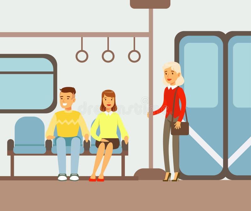 Los pasajeros en sus lugares en el coche de tren del metro, parte de gente que toma diverso transporte mecanografían la serie de  libre illustration