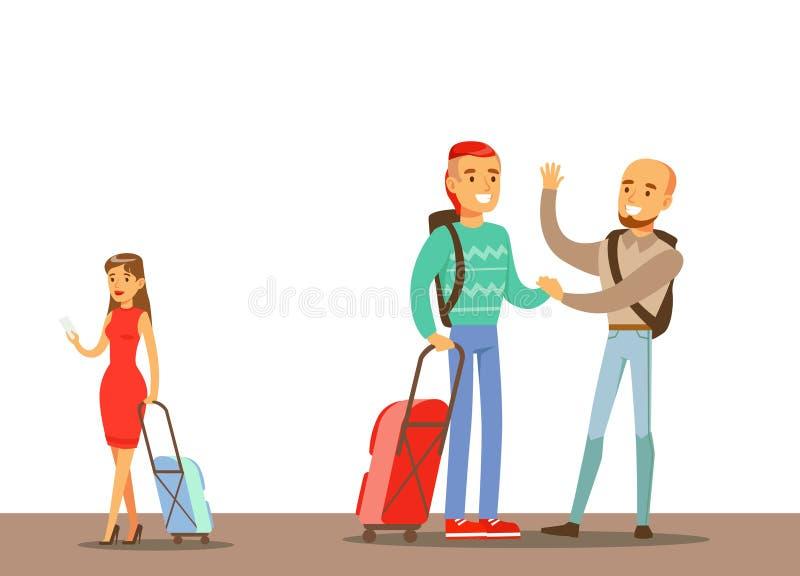 Los pasajeros que dicen Goodbyes en el aeropuerto, parte de gente que toma diverso transporte mecanografían la serie de escenas d stock de ilustración