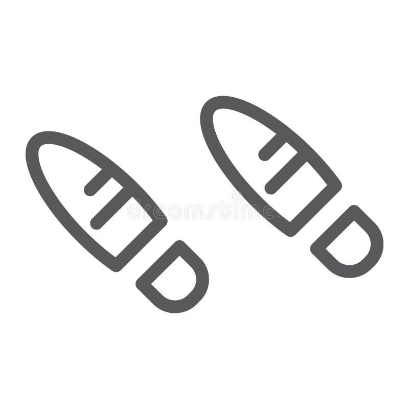 Los pasos alinean el icono, el zapato y la impresión, muestra de la huella, gráficos de vector, un modelo linear en un fondo blan libre illustration