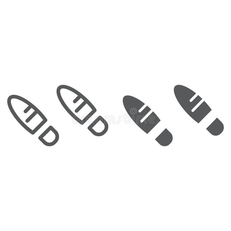 Los pasos alinean y el icono del glyph, el zapato y la impresión, muestra de la huella, gráficos de vector, un modelo linear en u libre illustration