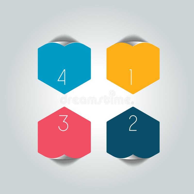 Los 4 pasos infographic redondos pescan el organigrama Diagrama, gráfico, carta, organigrama, plantilla de la bandera libre illustration