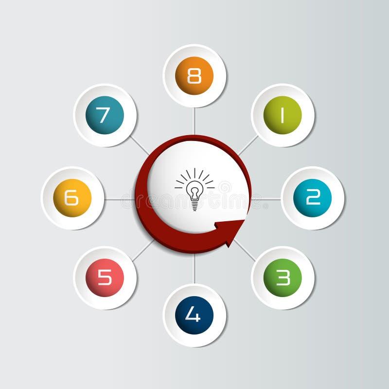 Los 8 pasos infographic redondos pescan el organigrama Diagrama, gráfico, carta, organigrama, plantilla de la bandera ilustración del vector