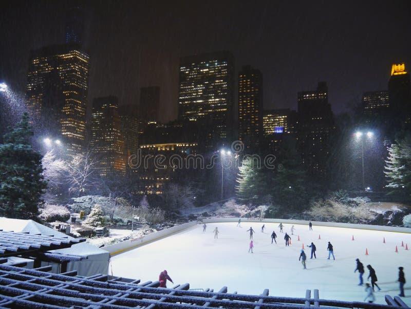 Los patinadores de hielo gozan de un Central Park hivernal debajo de la nieve, NYC imagen de archivo
