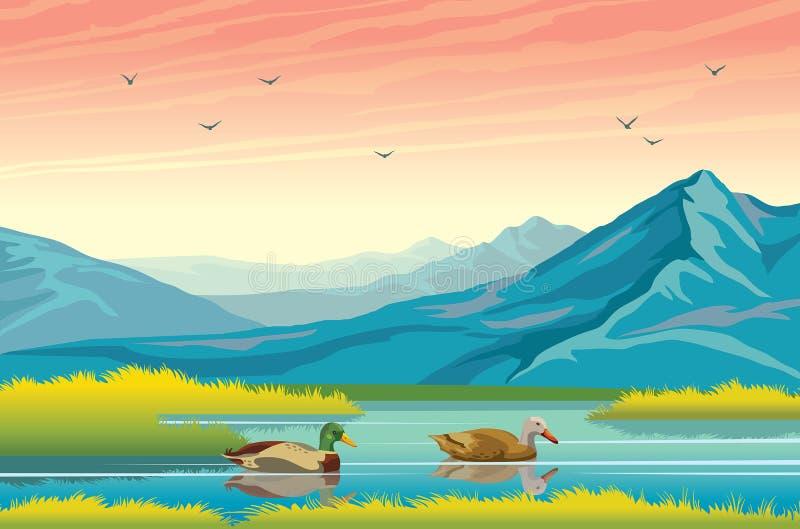 Los patos, el lago, las montañas y el otoño ajardinan libre illustration