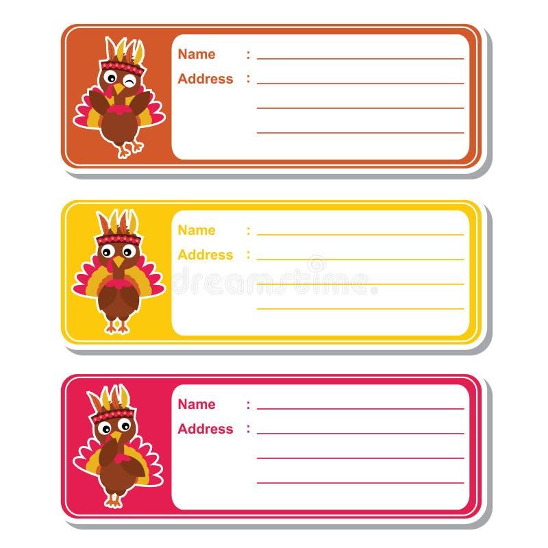 Los pavos lindos en el fondo colorido conveniente para la etiqueta de dirección del niño diseñan libre illustration