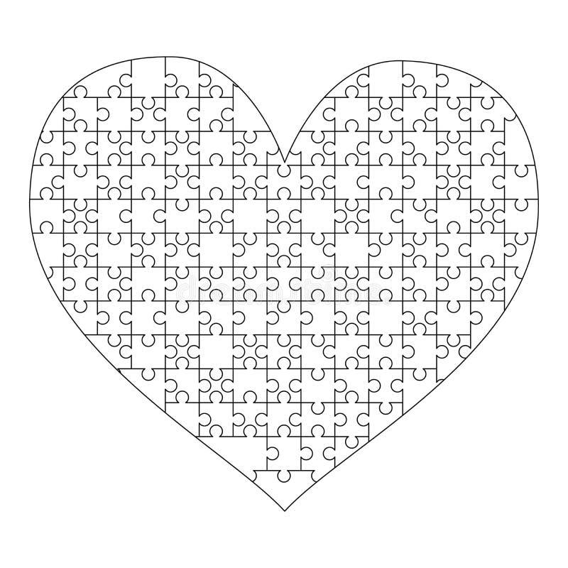 Los pedazos blancos de los rompecabezas arreglaron en una forma del corazón Plantilla media del rompecabezas lista para la impres stock de ilustración