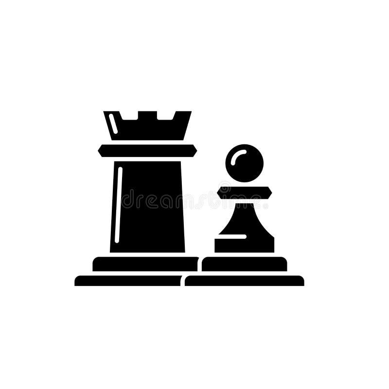 Los pedazos de ajedrez estafan y empeñan el icono negro, muestra del vector en fondo aislado Los pedazos de ajedrez estafan y emp ilustración del vector