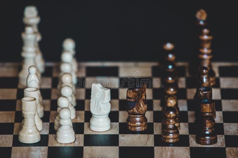 Los pedazos de ajedrez knights para un pilar en chessbo imágenes de archivo libres de regalías