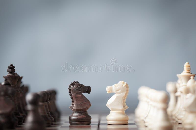 Los pedazos de ajedrez knights para un pilar en el tablero de ajedrez con el fondo borroso fotografía de archivo libre de regalías
