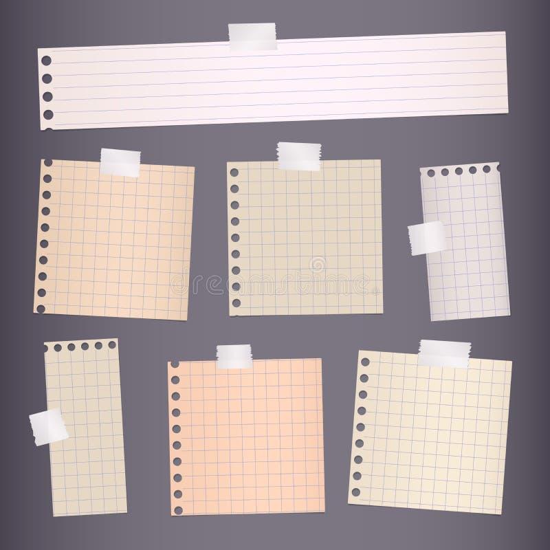 Los pedazos de blanco rasgado alineado, papel ajustado del cuaderno se pegan en fondo gris libre illustration