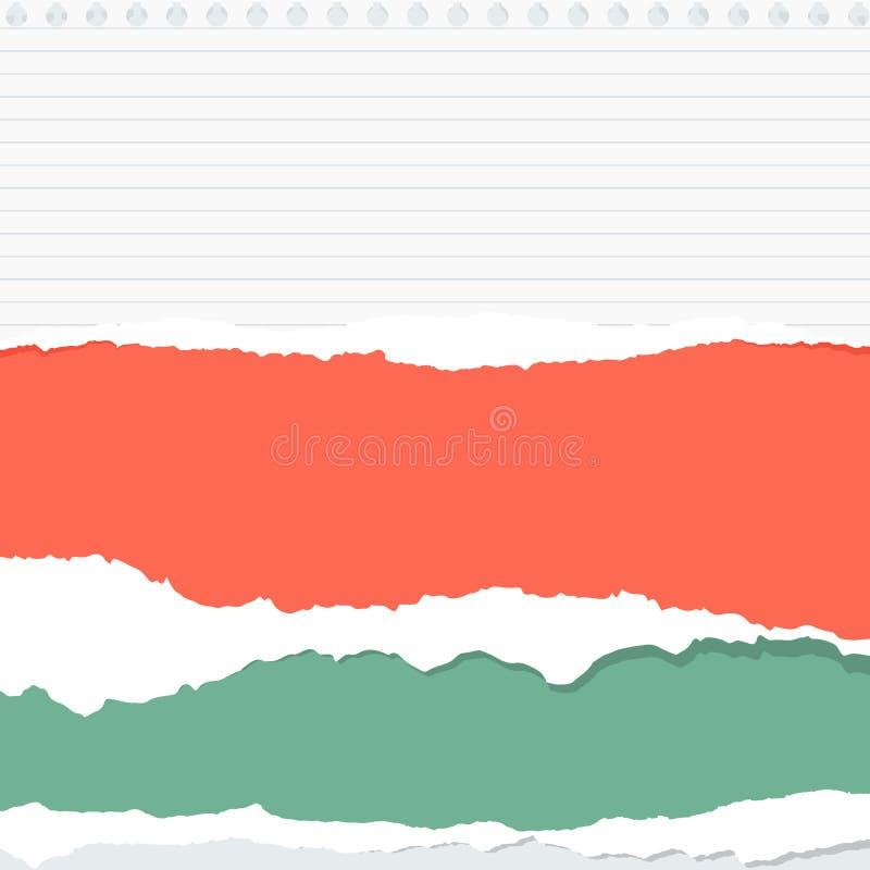 Los pedazos de hoja colorida y gobernada rasgada del Libro Blanco se pegan en fondo gris ilustración del vector