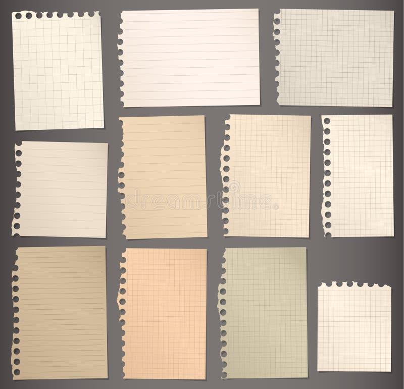 Los pedazos de marrón rasgado alinearon y ajustaron el papel de nota stock de ilustración