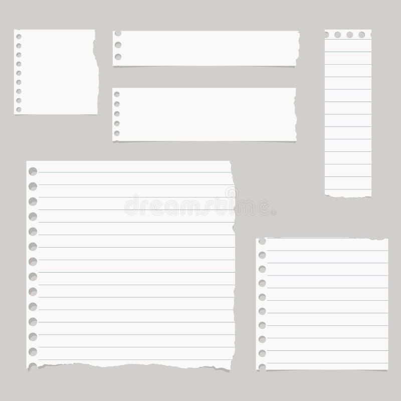 Los pedazos de papel alineado blanco rasgado del cuaderno se pegan en fondo gris ilustración del vector