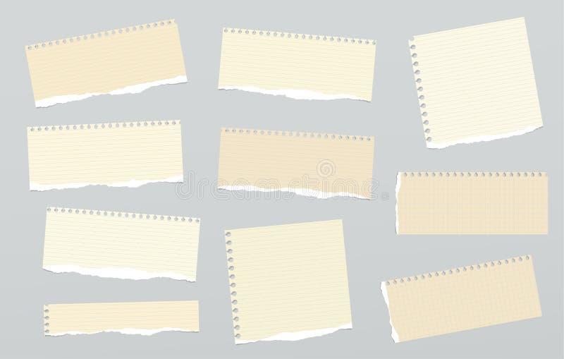 Los pedazos de papel de nota rasgado gobernado marrón claro se pegaron en fondo gris libre illustration