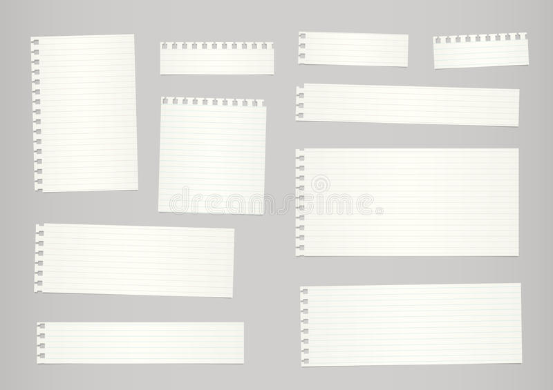 Los pedazos de papel gobernado beige cortado del cuaderno se pegan en fondo gris ilustración del vector