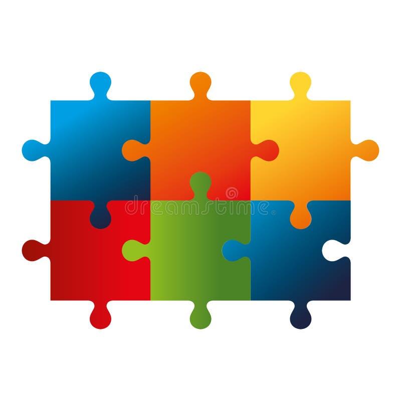 los pedazos del juego del rompecabezas aislaron el icono stock de ilustración