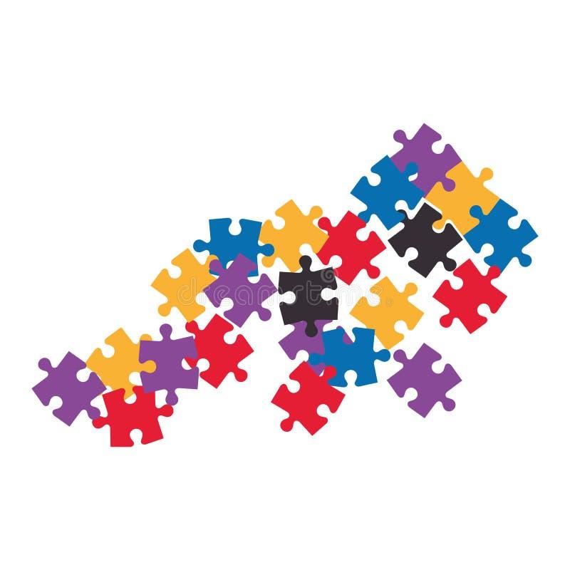 los pedazos del juego del rompecabezas aislaron el icono libre illustration