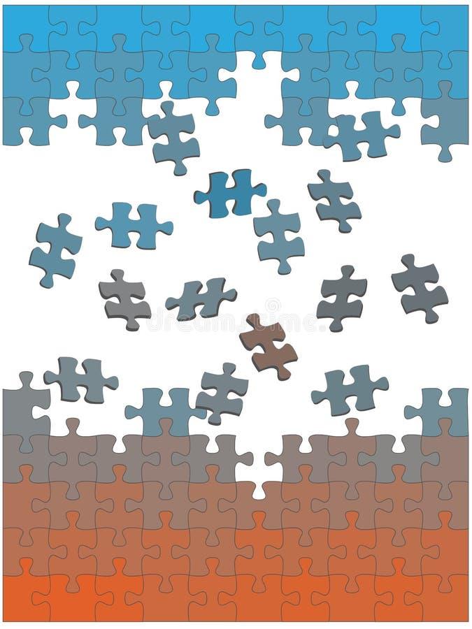 Los pedazos del rompecabezas de rompecabezas caen juntos como solución ilustración del vector