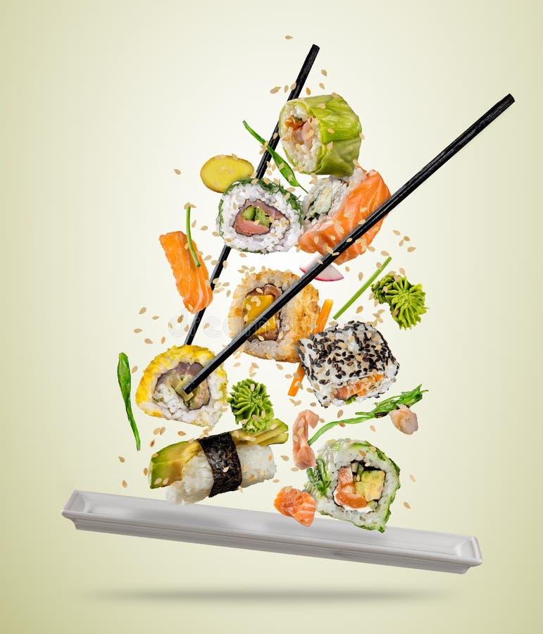 Los pedazos del sushi del vuelo sirvieron en la placa, separada en backgr coloreado stock de ilustración