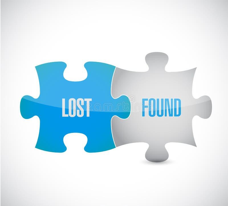 Los pedazos perdidos y encontrados del rompecabezas firman diseño del ejemplo libre illustration
