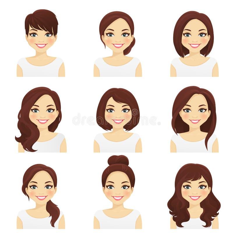 Los peinados de la mujer fijados libre illustration