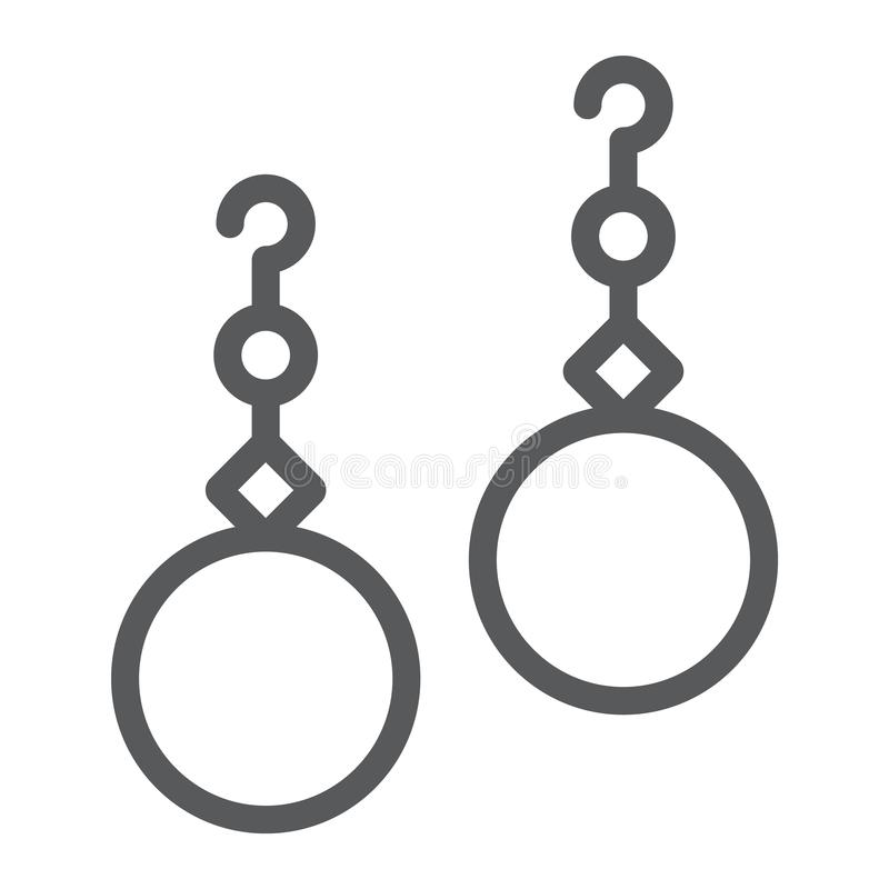 Los pendientes de las perlas alinean el icono, la joyería y el accesorio, muestra de la joya del oído, gráficos de vector, un mod ilustración del vector
