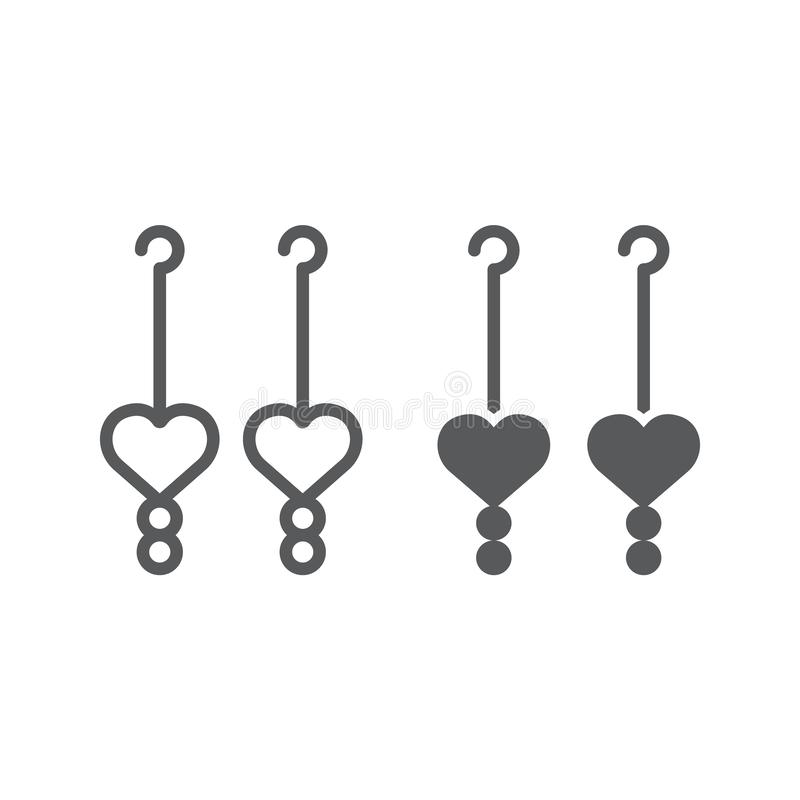 Los pendientes del corazón alinean y el icono del glyph, el amor y la joyería, muestra de la joya, gráficos de vector, un modelo  stock de ilustración