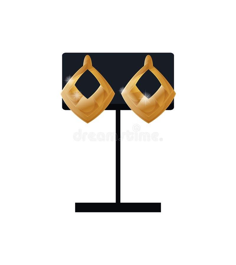 Los pendientes fijaron el accesorio del oro en sistema de exhibición negro stock de ilustración