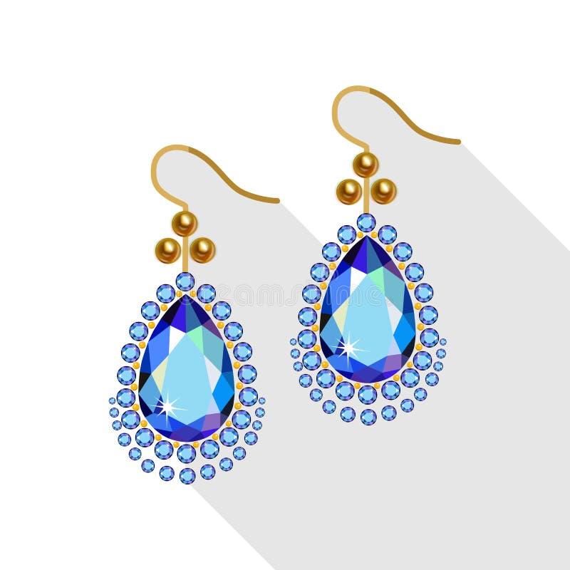 Los pendientes fijaron (las perlas y rubí del oro) en el fondo blanco stock de ilustración