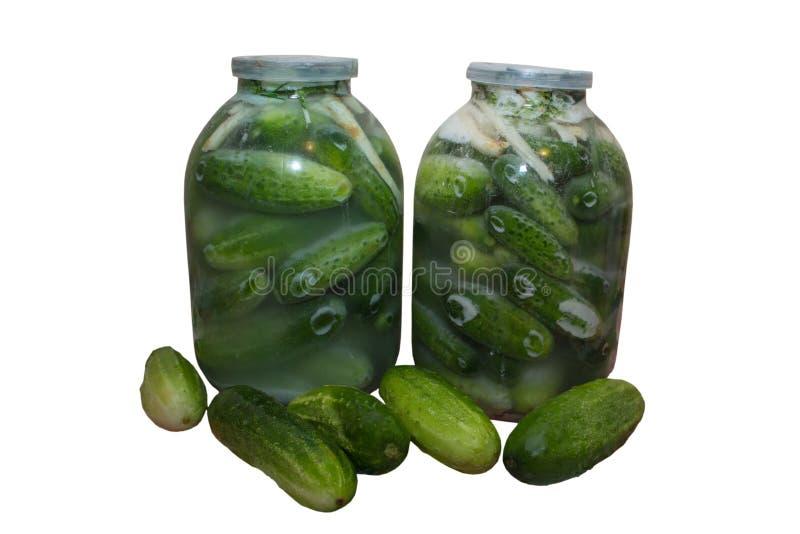Los pepinos conservados en vinagre, latas conservaron en vinagre los pepinos en un fondo blanco foto de archivo libre de regalías