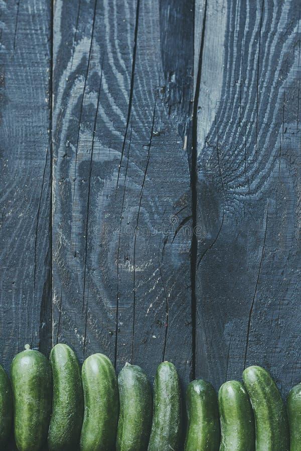 Los pepinos reman en la madera fotografía de archivo libre de regalías
