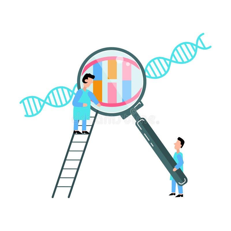Los pequeños científicos están explorando la estructura de la DNA libre illustration