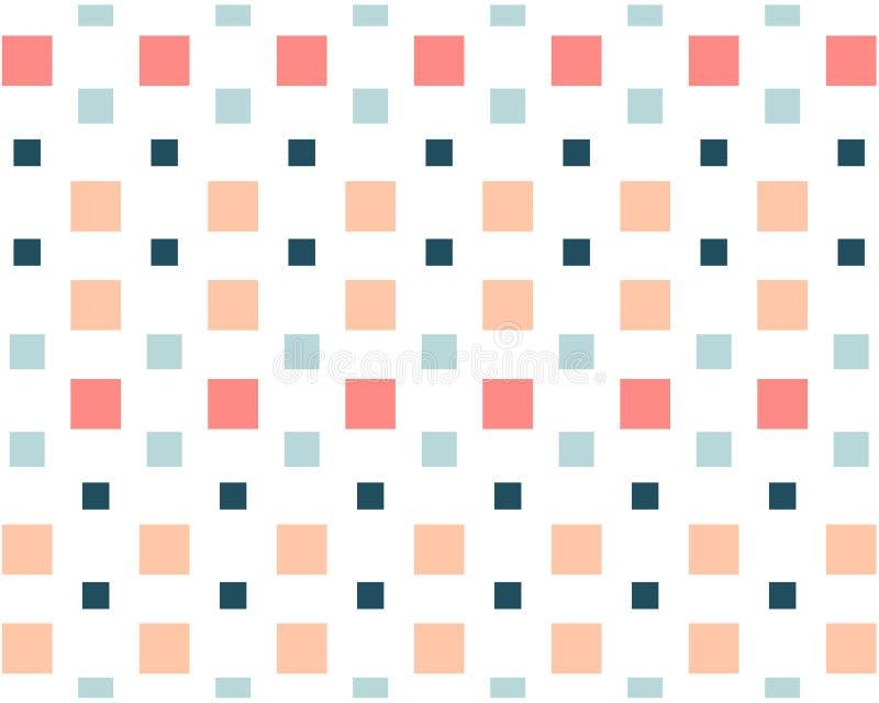 Los pequeños cuadrados coloreados en un fondo blanco del mosaico stock de ilustración