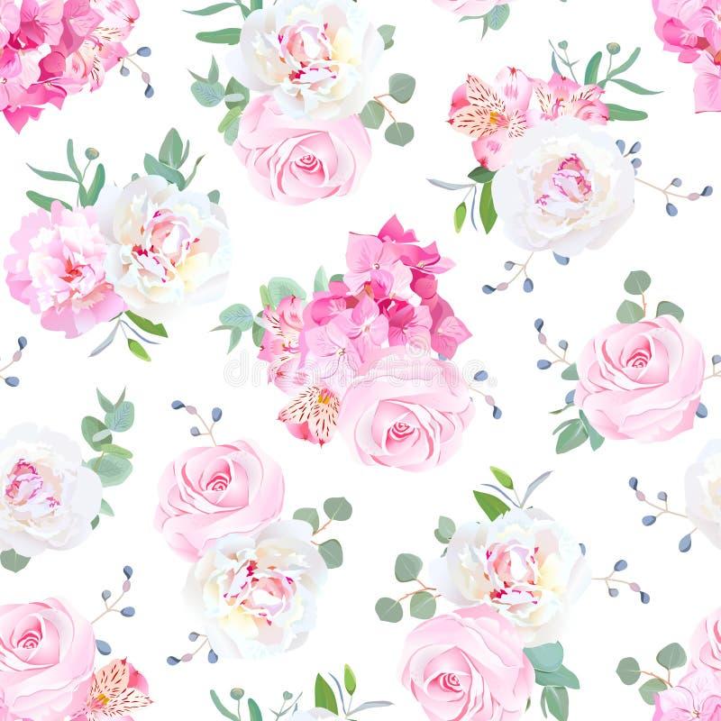 Los pequeños ramos de la boda de subieron, peonía, lirio del alstroemeria, hortensia, bayas azules ilustración del vector