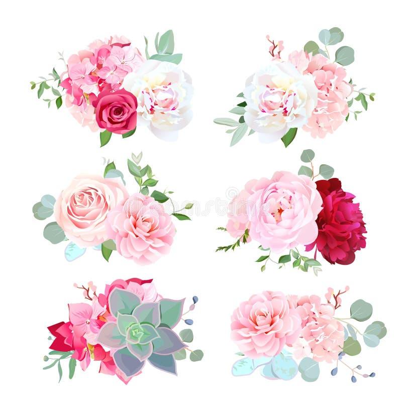 Los pequeños ramos de la boda de peonía, hortensia, camelia, subieron, succ ilustración del vector