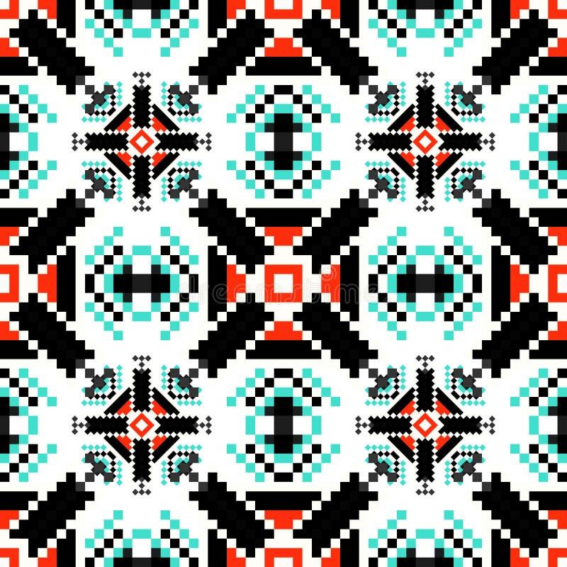 Los peque?os pixeles colorearon el ejemplo incons?til del modelo del fondo geom?trico stock de ilustración