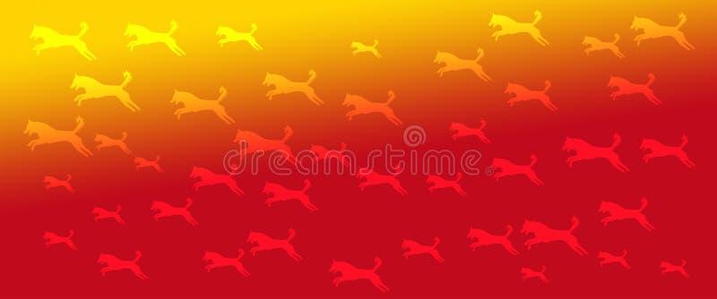 Los perros caseros del fondo del jefe modelan en fondo amarillo-naranja de la pendiente ilustración del vector