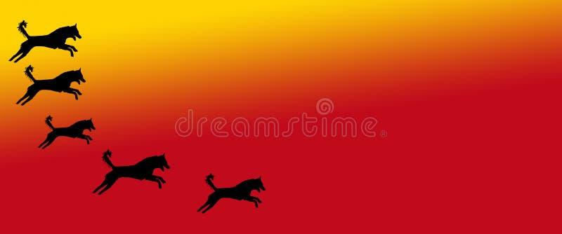 Los perros caseros del fondo del jefe modelan en fondo amarillo-naranja de la pendiente libre illustration
