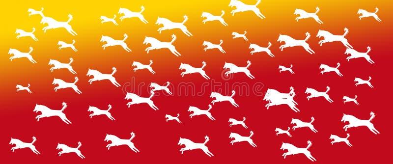 Los perros caseros del fondo del jefe modelan en fondo amarillo-naranja de la pendiente stock de ilustración