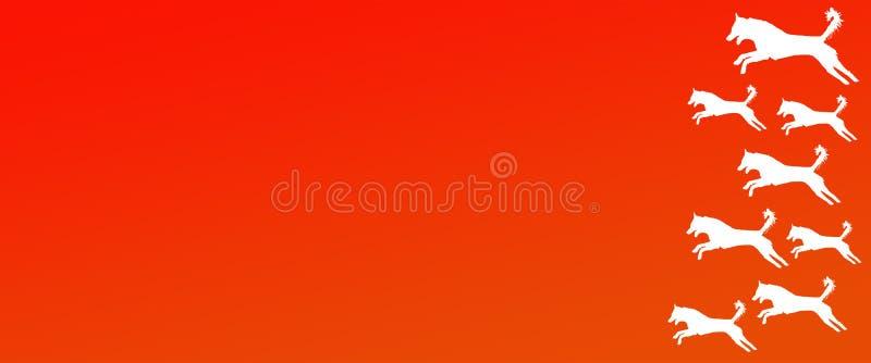 Los perros caseros del fondo del jefe modelan en fondo anaranjado de la pendiente ilustración del vector