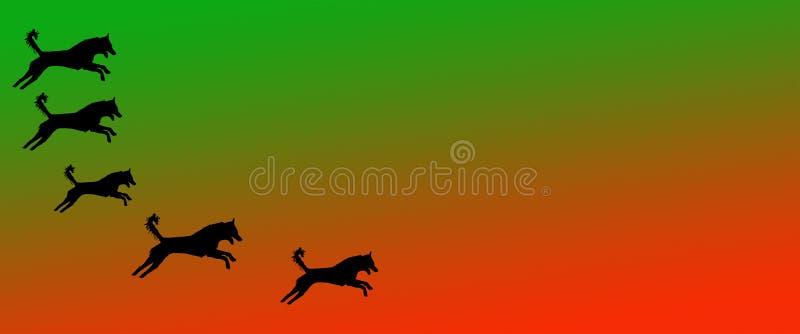 Los perros caseros del fondo del jefe modelan en fondo anaranjado verde de la pendiente stock de ilustración
