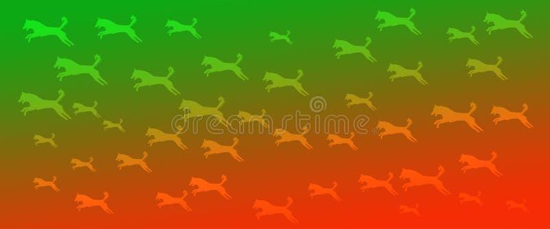Los perros caseros del fondo del jefe modelan en fondo anaranjado verde de la pendiente libre illustration