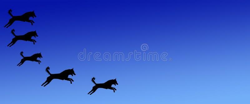 Los perros caseros del fondo del jefe modelan en fondo azul de la pendiente stock de ilustración