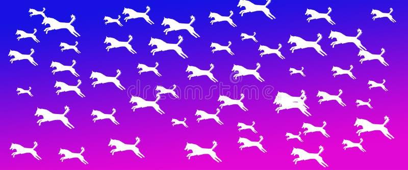 Los perros caseros del fondo del jefe modelan en fondo azul de la pendiente de Mangeta ilustración del vector