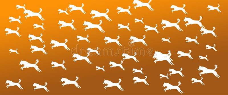 Los perros caseros del fondo del jefe modelan en fondo de color caqui de la pendiente de Brown stock de ilustración