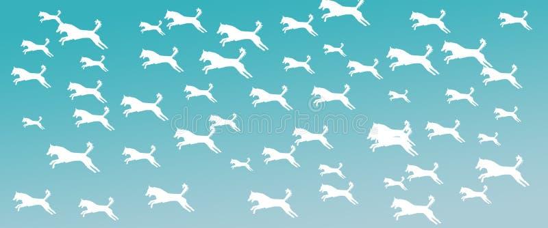 Los perros caseros del fondo del jefe modelan en fondo de la pendiente de la turquesa stock de ilustración