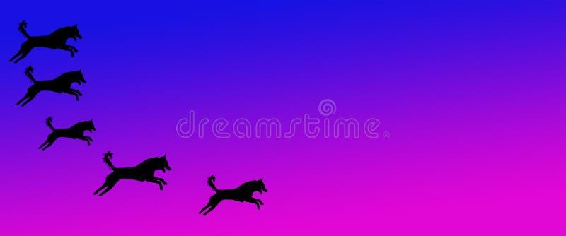 Los perros caseros del fondo del jefe modelan en fondo magenta azul de la pendiente stock de ilustración