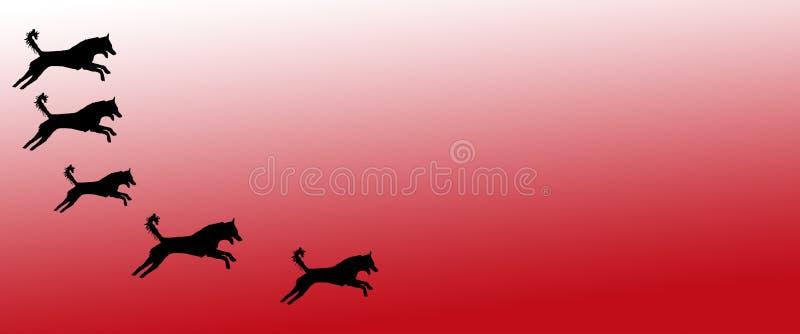 Los perros caseros del fondo del jefe modelan en fondo rojo de la pendiente ilustración del vector
